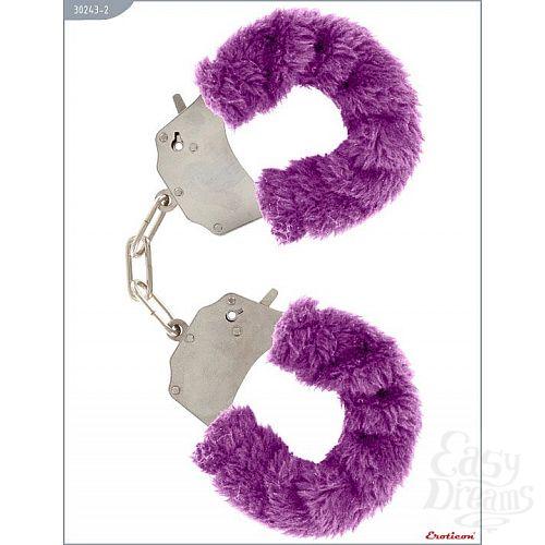 Фотография 1:  Металлические наручники с фиолетовым мехом