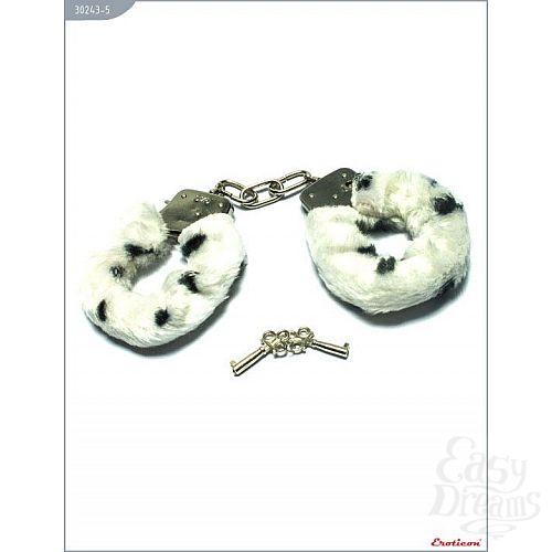 Фотография 1:  Металлические наручники с бело-чёрным мехом