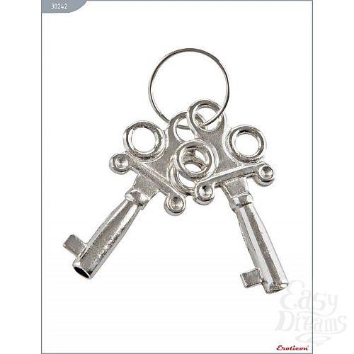 Фотография 2  Металлические наручники с бело-чёрным мехом