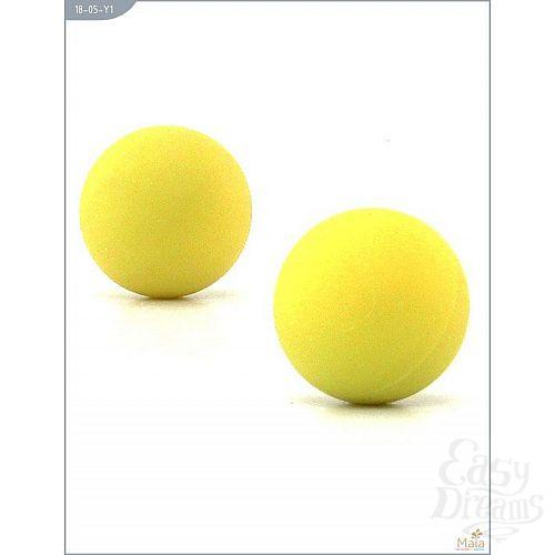 Фотография 1:  Металлические вагинальные шарики с жёлтым силиконовым покрытием