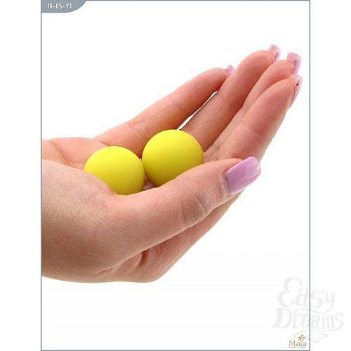 Фотография 2  Металлические вагинальные шарики с жёлтым силиконовым покрытием