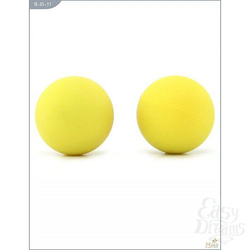 Фотография 3  Металлические вагинальные шарики с жёлтым силиконовым покрытием