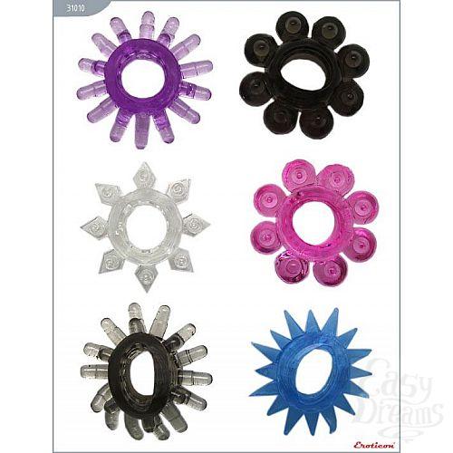Фотография 1:  Набор из 6 эрекционных колец различной формы и цвета