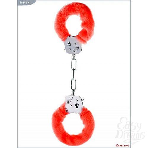 Фотография 1:  Металлические наручники с красным мехом