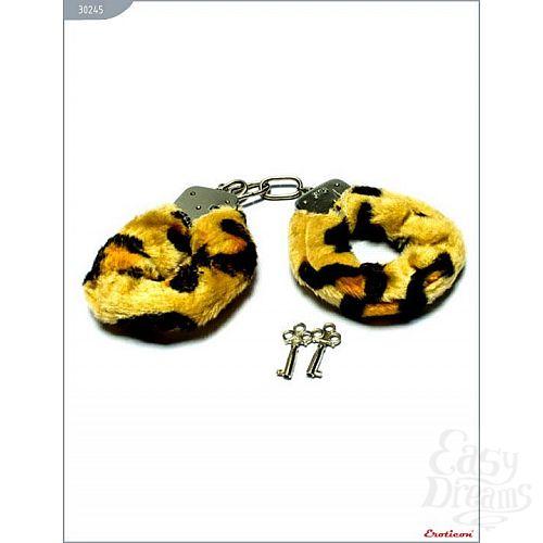 Фотография 1:  Металлические наручники с мехом тигровой расцветки