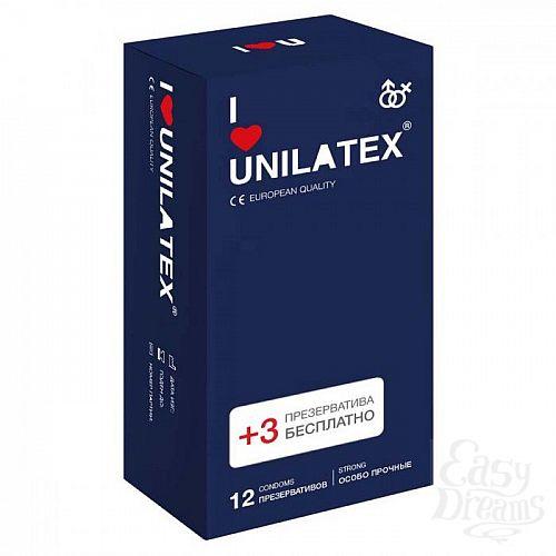 Фотография 1:  Ультрапрочные презервативы Unilatex Extra Strong - 12 шт. + 3 шт. в подарок