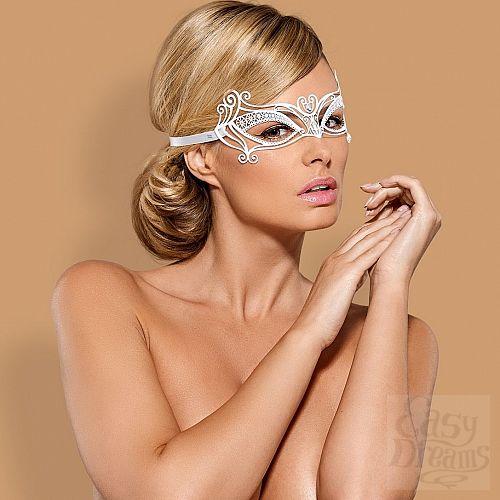Фотография 1:  Белая металлическая маска на завязках