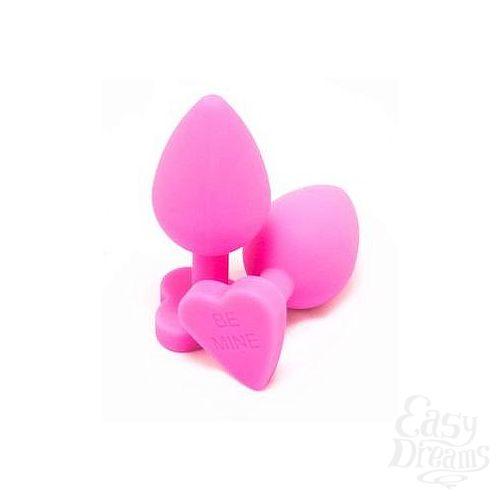 Фотография 1:  Розовая силиконовая пробка с основанием-сердцем - 8 см.