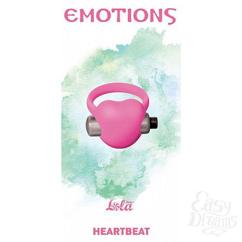 Фотография 1:  Розовое эрекционное виброкольцо Emotions Heartbeat Light pink