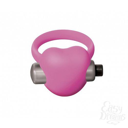 Фотография 2  Розовое эрекционное виброкольцо Emotions Heartbeat Light pink