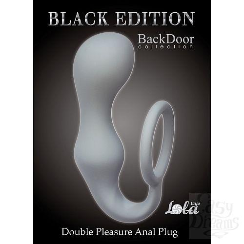 Фотография 1:  Lola Toys Back Door Collection Black Edition  Эрекционное кольцо с анальной пробкой Double Pleasure Anal Plug Grey 4217-02Lola