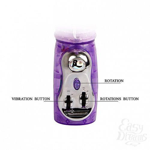 Фотография 5  Фиолетовый вибратор-ротатор Amos с клиторальной птичкой - 30 см.