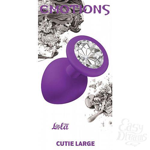 Фотография 2  Большая фиолетовая анальная пробка Emotions Cutie Large с прозрачным кристаллом - 10 см.