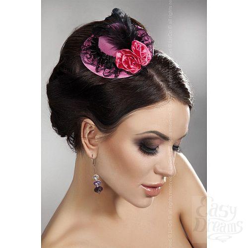 Фотография 1:  Розовая мини-шляпка с кружевом и цветами