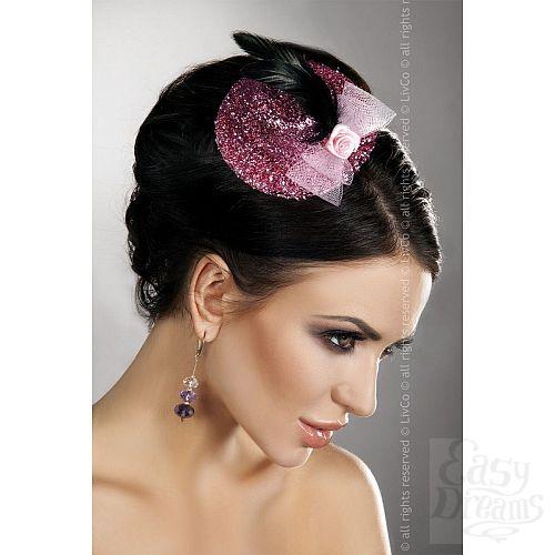Фотография 1:  Блестящая розовая шляпка с розочкой