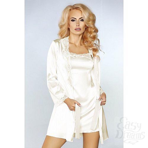 Фотография 1:  Роскошный ночной комплект Jacqueline: пеньюар, сорочка и трусики-стринги