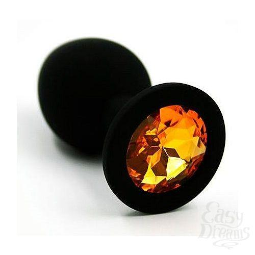 Фотография 1:  Чёрная силиконовая анальная пробка с жёлтым кристаллом - 7 см.