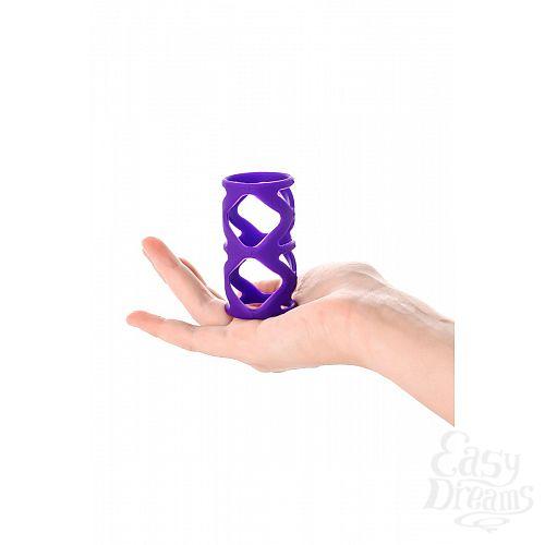 Фотография 5  Фиолетовая насадка-сетка на пенис - 7,5 см.