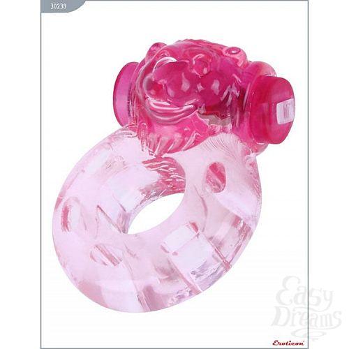 Фотография 1:  Розовое эрекционное кольцо «Медвежонок» с мини-вибратором