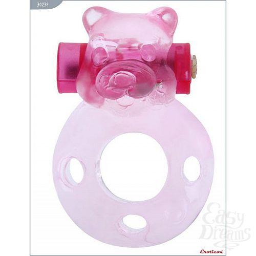 Фотография 3  Розовое эрекционное кольцо «Медвежонок» с мини-вибратором