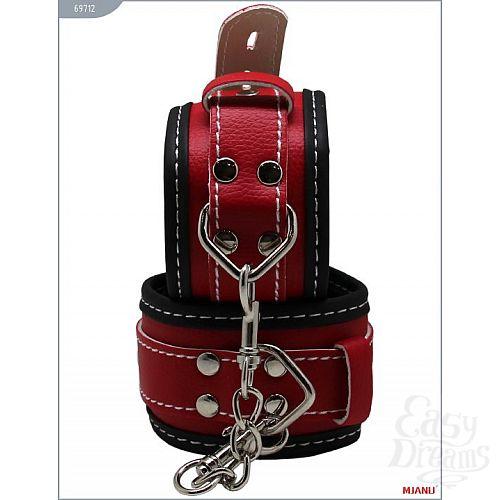 Фотография 1:  Чёрно-красные наручники на мягкой подкладке с фиксацией