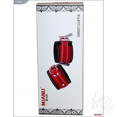 Фотография 5  Чёрно-красные наручники на мягкой подкладке с фиксацией