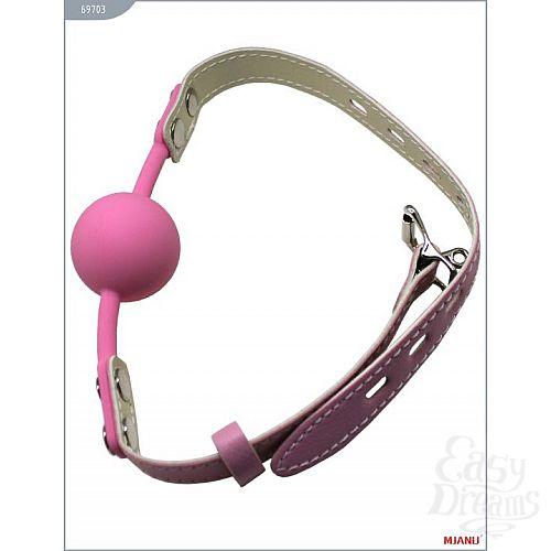 Фотография 2  Розовый силиконовый кляп с фиксацией розовыми кожаными ремешками