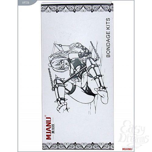 Фотография 5  Крестовина с карабинами и манжеты для рук и ног из чёрной кожи