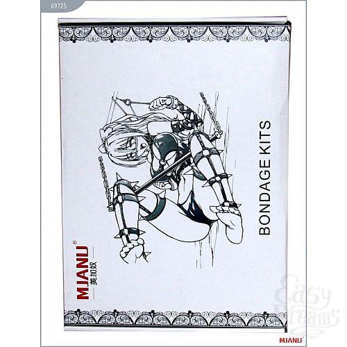 Фотография 5  Набор БДСМ-девайсов из чёрной кожи на мягкой подкладке: наручники, наножники, ошейник с поводком, кляп