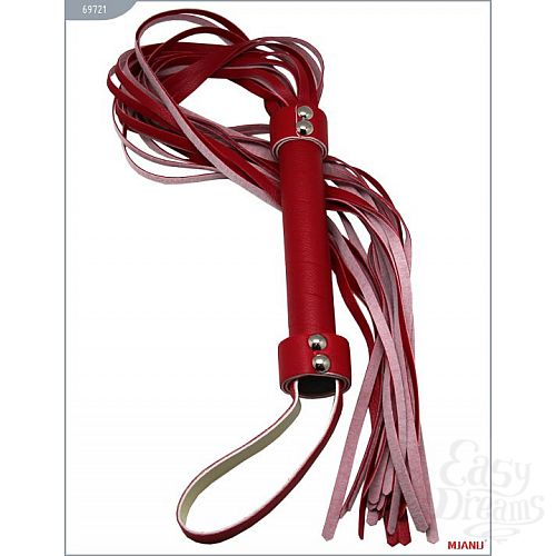 Фотография 2  Красный кожаный флогер с 21 хвостом - 56 см.