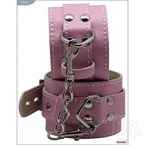 Фотография 1:  Розовые кожаные наручники с фиксацией