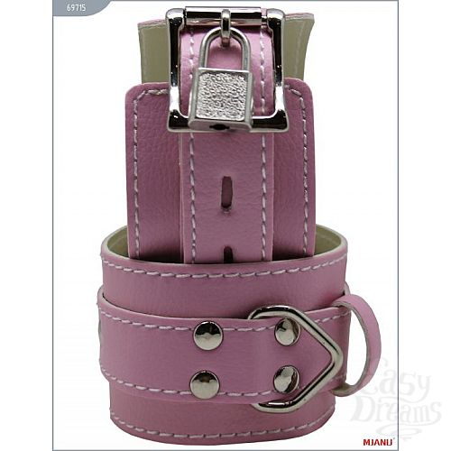 Фотография 2  Розовые кожаные наручники с фиксацией
