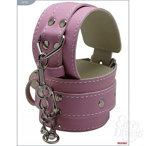 Фотография 3  Розовые кожаные наручники с фиксацией