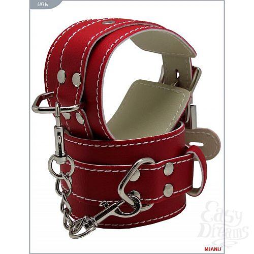 Фотография 3  Красные кожаные наручники с фиксацией