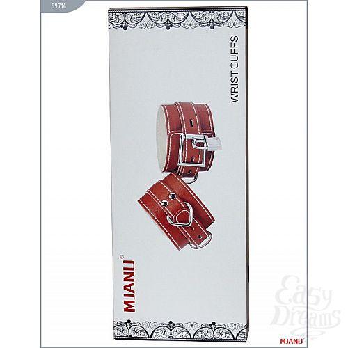 Фотография 5  Красные кожаные наручники с фиксацией