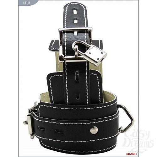 Фотография 3  Чёрные кожаные наручники с фиксацией