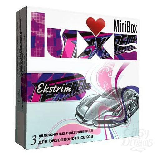 Фотография 1:  Ребристые презервативы Luxe Mini Box Экстрим - 3 шт.