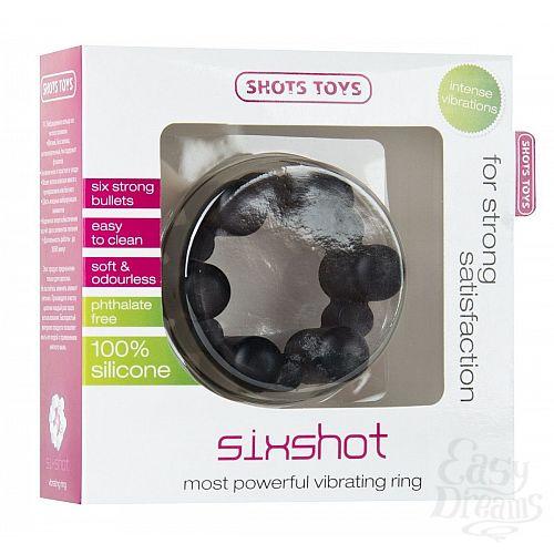 Фотография 2  Чёрное эрекционное кольцо с вибрацией Sixshot