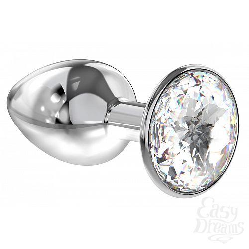 Фотография 1:  Малая серебристая анальная пробка Diamond Clear Sparkle Small с прозрачным кристаллом - 7 см.