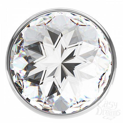 Фотография 3  Малая серебристая анальная пробка Diamond Clear Sparkle Small с прозрачным кристаллом - 7 см.