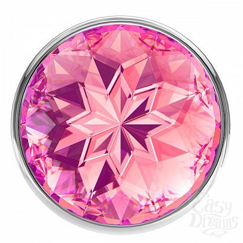 Фотография 3  Малая серебристая анальная пробка Diamond Pink Sparkle Small с розовым кристаллом - 7 см.