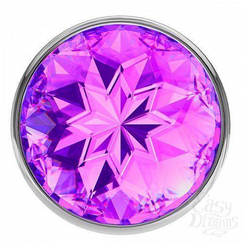 Фотография 3  Большая серебристая анальная пробка Diamond Purple Sparkle Large с фиолетовым кристаллом - 8 см.