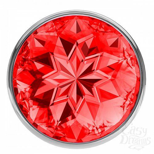 Фотография 3  Большая серебристая анальная пробка Diamond Red Sparkle Large с красным кристаллом - 8 см.