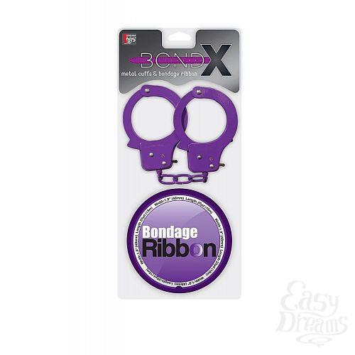 Фотография 2  Набор для фиксации BONDX METAL CUFFS AND RIBBON: фиолетовые наручники из листового материала и липкая лента