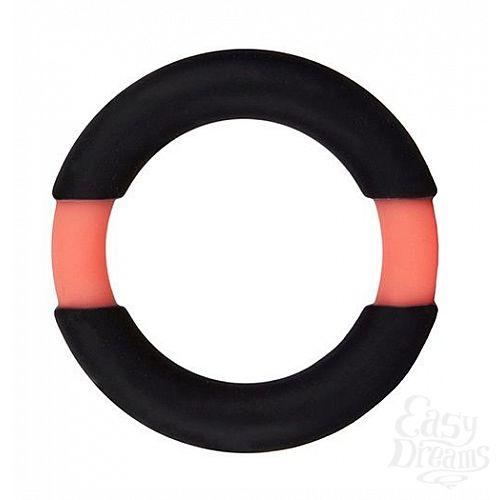 Фотография 1:  Чёрное эрекционное кольцо NEON STIMU RING 32MM BLACK/ORANGE