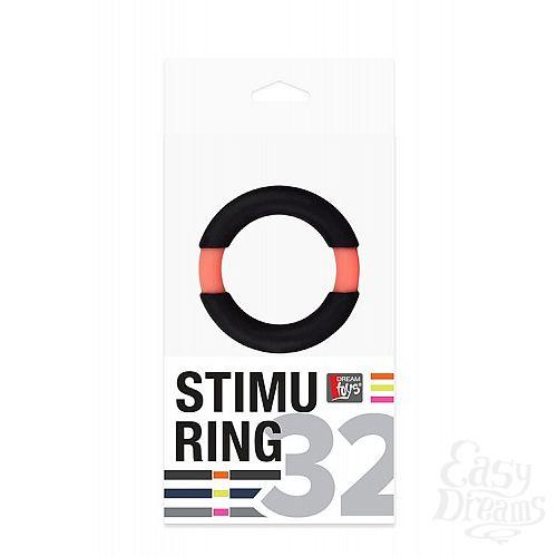 Фотография 2  Чёрное эрекционное кольцо NEON STIMU RING 32MM BLACK/ORANGE