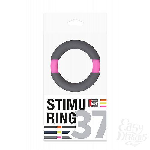 Фотография 2  Серое эрекционное кольцо NEON STIMU RING 37MM GREY/PINK