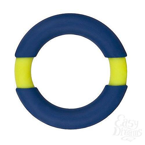 Фотография 1:  Синее эрекционное кольцо NEON STIMU RING 42MM BLUE/YELLOW