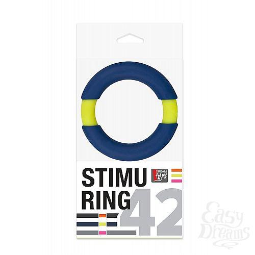 Фотография 2  Синее эрекционное кольцо NEON STIMU RING 42MM BLUE/YELLOW