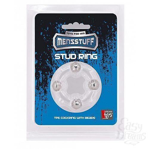 Фотография 2  Эрекционное кольцо с 4 бусинами MENZSTUFF STUD RING CLEAR